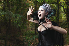Scary witch screams. Royalty Free Stock Images