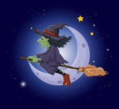 A scary witch in the sky near the moon Royalty Free Stock Photography