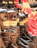 Scary wooden souvenirs Stock Image