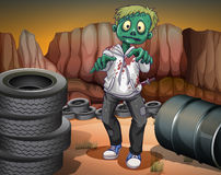 A scary zombie in the desert. Illustration of a scary zombie in the desert Stock Image