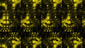Scary zombie face pattern on black background. Illustration in horror genre. Abstraction monster character face vector illustration