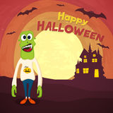 Scary zombie for Halloween party celebration. Scary Zombie with flying bat and haunted house on horrible night background for Happy Halloween Party celebration Royalty Free Stock Photo