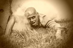 Scary zombie man. Zombies can climb out of the grave Royalty Free Stock Image