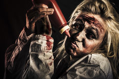 Scary zombie out of tomato sauce. Horror food Stock Images