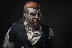 Scary zombie prostheric makeup on male model.  stock photos
