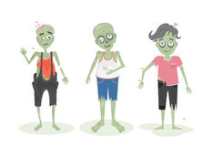 scary zombie set. Green zombies with brain, bone and spit. Scary reanimated monster for halloween decoration Stock Images