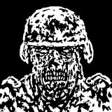 Scary zombie soldier concept. Vector illustration. Royalty Free Stock Photos