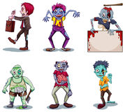Scary zombies. Illustration of a scary zombies on a white background Stock Images