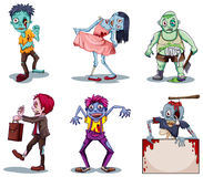Scary zombies. Lllustration of the scary zombies on a white background Royalty Free Stock Photos