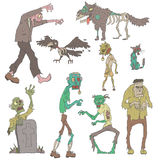 Scary Zombies Outlined Stickers Royalty Free Stock Photos