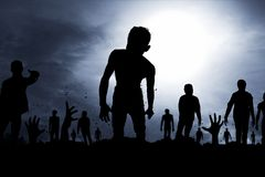Scary zombies silhouette Royalty Free Stock Photo