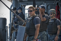SCAT Team Standing Watch. SCAT Team onboard USS San Jacinto stands watch to keep America safe Stock Image
