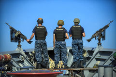 SCAT Team Standing Watch. SCAT Team onboard USS San Jacinto stands watch to keep America safe Royalty Free Stock Images