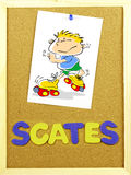 Scates word on a corkboard Stock Photo