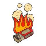 scatola ardente della partita del retro fumetto Fotografia Stock