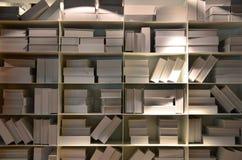 Scatola bianca degli scaffali Fotografie Stock