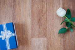 Scatola blu e rosa di bianco Fotografia Stock