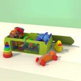 Scatola con i giocattoli per i bambini Fotografia Stock Libera da Diritti