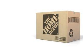 Scatola con il logo di Home Depot Rappresentazione editoriale 3D illustrazione di stock