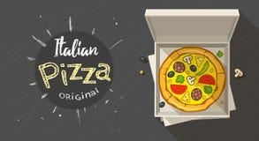 Scatola con pizza italiana Fotografie Stock Libere da Diritti