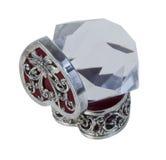 Scatola d'argento del cuore con il grande diamante Immagini Stock