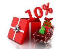 scatola 3d con 10 per cento del testo Concetto di vendita di Natale Fotografia Stock