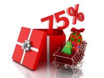 scatola 3d con 75 per cento del testo Concetto di vendita di Natale Fotografia Stock