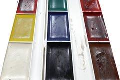 Scatola degli acquerelli sporchi Immagine Stock
