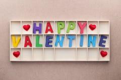 Scatola degli alfabeti del biglietto di S. Valentino felice Fotografia Stock Libera da Diritti
