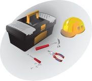 Scatola degli attrezzi per bricolage e dell'insieme da lavorare Martello, pinze, cacciavite e un casco illustrazione di stock