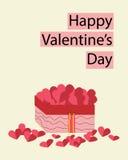 Scatola del cuore della carta del biglietto di S. Valentino Fotografie Stock