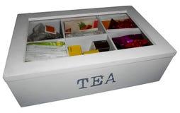 Scatola del tè, isolata su bianco Immagine Stock