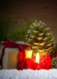 Scatola della candela e di regalo di arrivo Immagini Stock Libere da Diritti