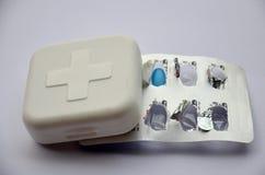 Scatola della medicina e croce rossa dello sysblom Fotografia Stock