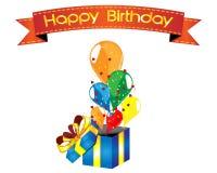 Scatola della sorpresa del buon compleanno con i palloni Fotografia Stock
