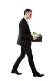 Scatola della tenuta dell'uomo d'affari con gli effetti personali personali Immagini Stock