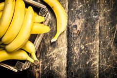 scatola delle banane fresche Fotografie Stock