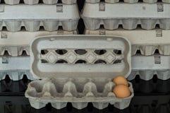 Scatola delle uova con due uova organiche del pollo dentro Fotografia Stock