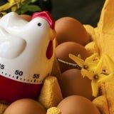 Scatola delle uova del cartone con le uova ed il temporizzatore Fotografie Stock
