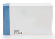 Scatola di alimento con il contrassegno in bianco fotografie stock libere da diritti