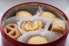 Scatola di biscotti del burro Fotografie Stock