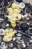 Scatola di bottoni Immagini Stock Libere da Diritti