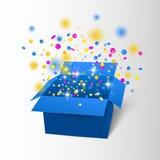Scatola di buon compleanno con la sorpresa dei coriandoli Esplosione della scatola blu di vettore Fotografie Stock Libere da Diritti