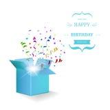 Scatola di buon compleanno con la sorpresa dei coriandoli Vettore illustrazione di stock
