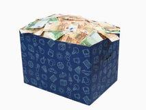 scatola di carta in pieno di soldi Immagine Stock Libera da Diritti