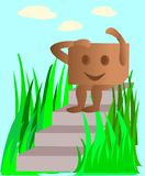 Scatola di cartone animata che si siede su un punto Immagine Stock