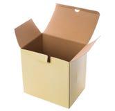 Scatola di cartone aperta di giallo su un fondo bianco Fotografia Stock Libera da Diritti
