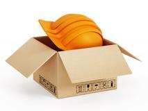 Scatola di cartone arancio Immagini Stock Libere da Diritti