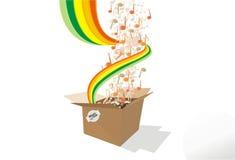 Scatola di cartone astratta di musica di priorità bassa Fotografia Stock Libera da Diritti