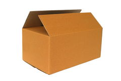 Scatola di cartone in bianco Fotografia Stock